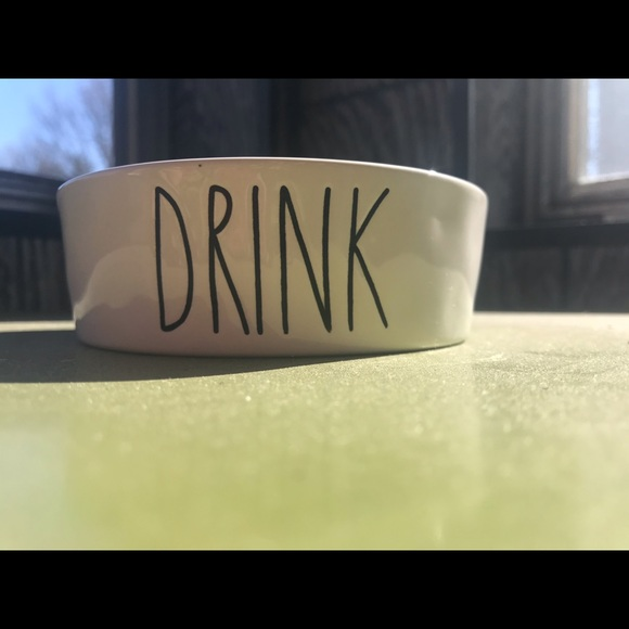 "Rae Dunn ""Drink"" small pet bowl"